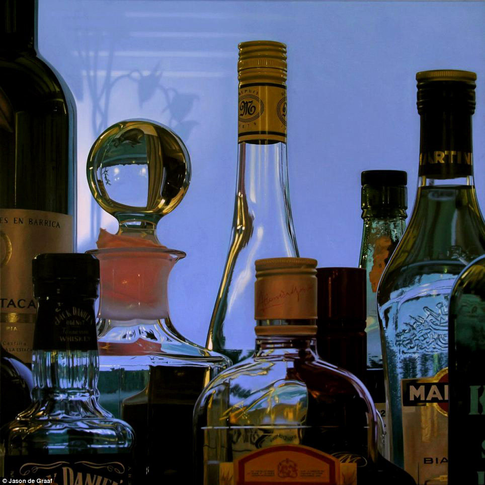 Picture-25 ( 30 Hyper-Realistic Acrylic Paintings by JasondeGraaf - Glass and Reflection )